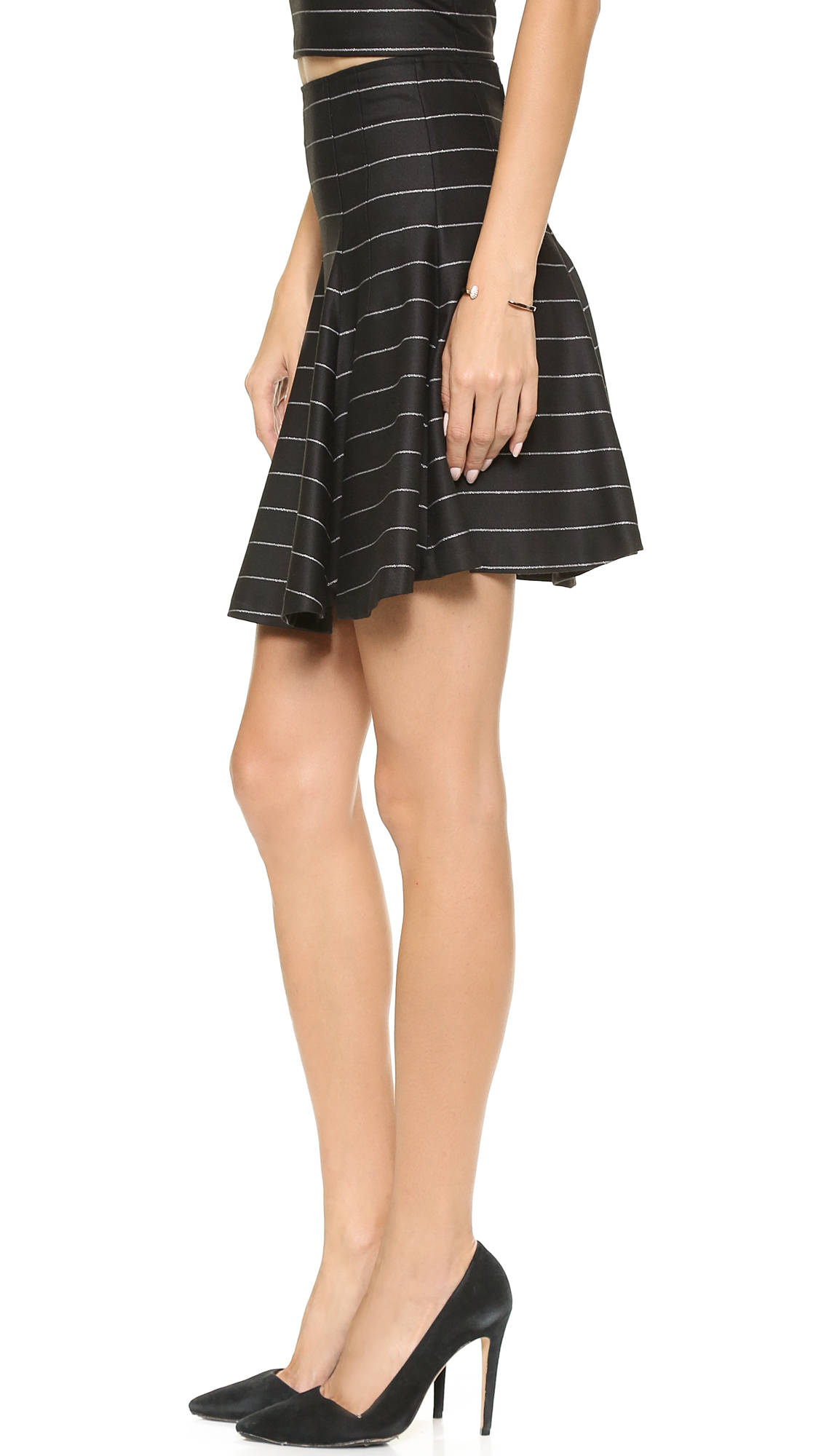 High Waisted Fit And Flare Skirt - Skirts