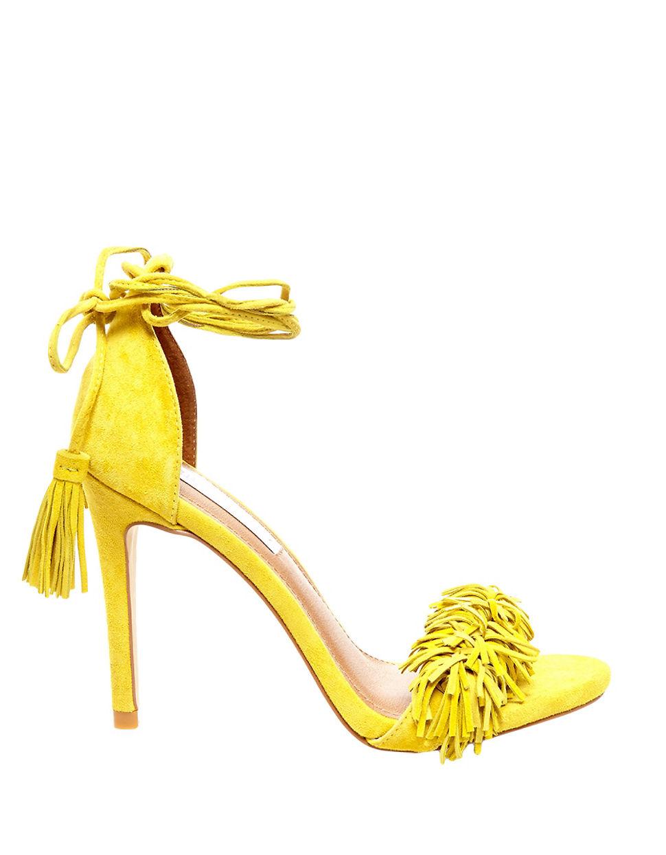 38a6863e9b0 Steve Madden Yellow Sassey Fringe Sandals