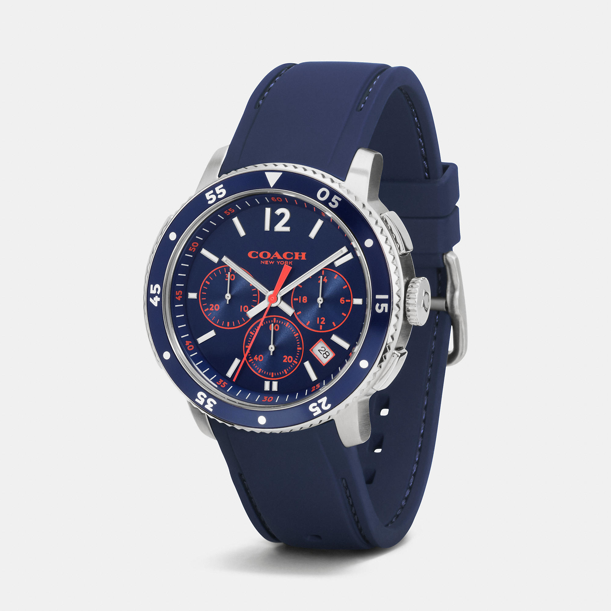 Sport Stainless Steel Chrono Rubber Strap Watch In Blue For Men NAVY