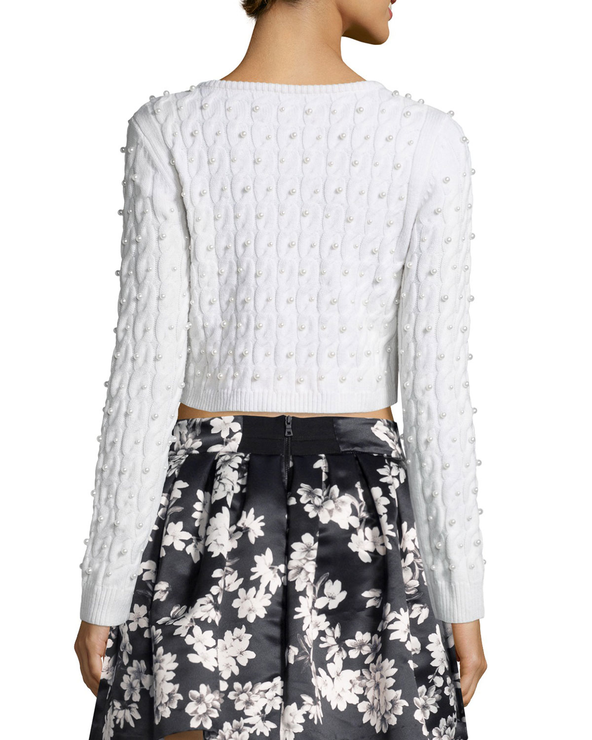 Alice   olivia Ora Cropped Wool Cardigan Sweater in White | Lyst