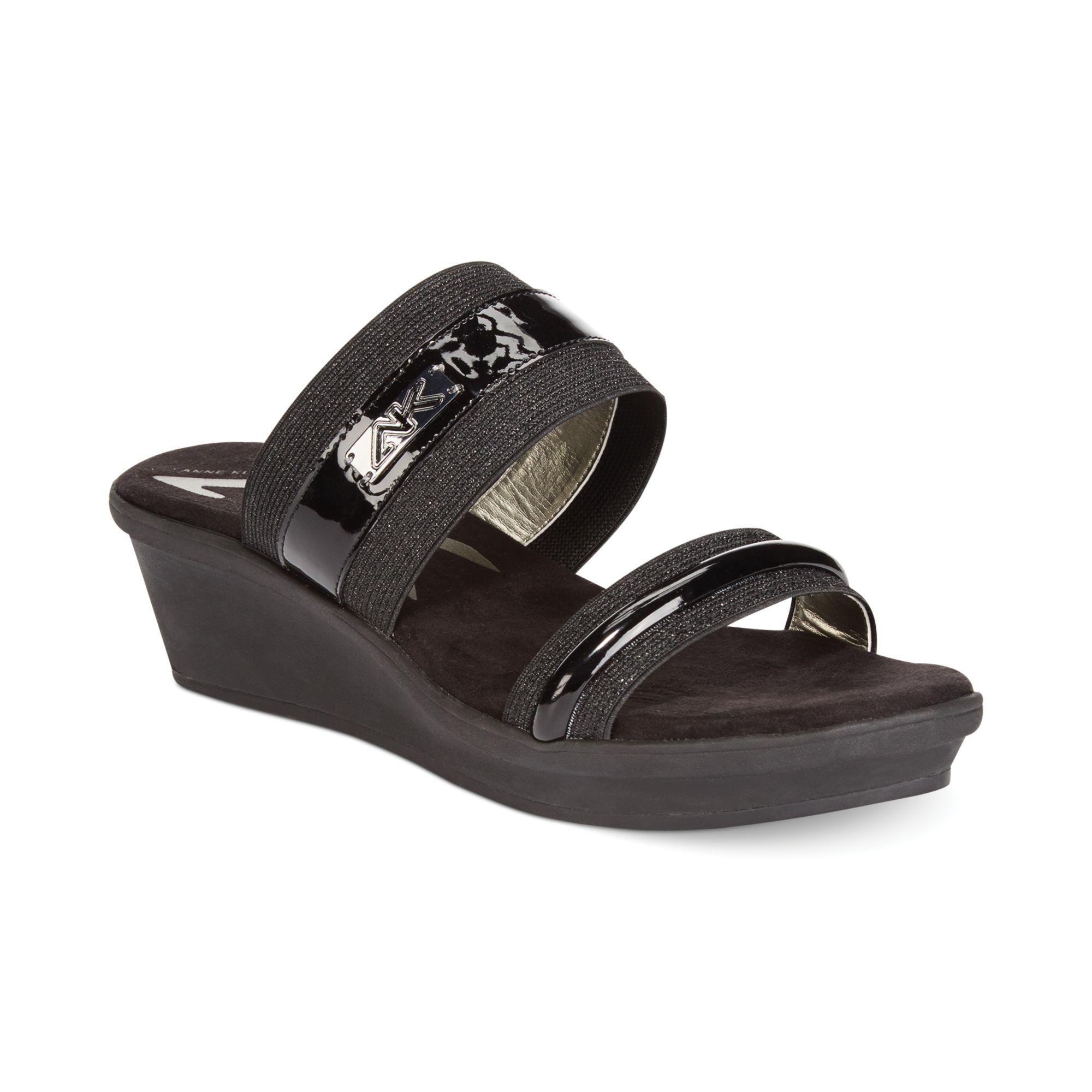 90d5863b7ab9 Anne Klein Ewan Platform Wedge Sandals in Black (BlackBlack Fabric)