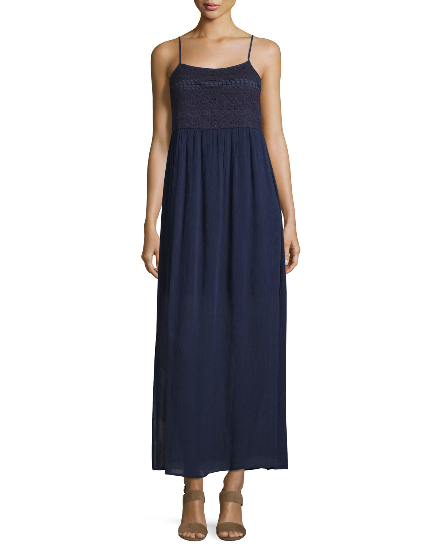 Neiman Marcus Crochet Sleeveless Maxi Dress in Blue - Lyst
