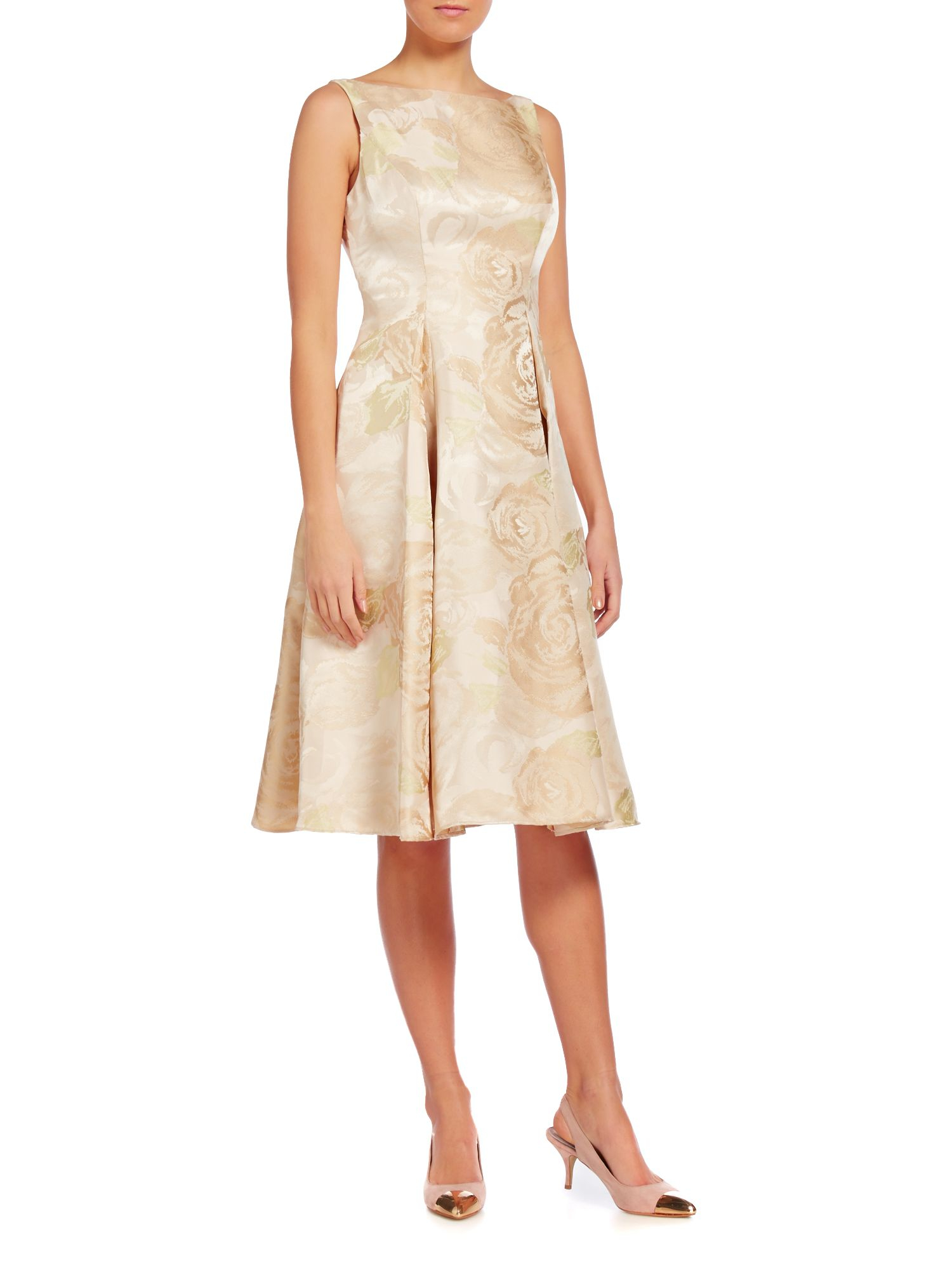 Adrianna Papell Sleeves Midi Press With Floral Jacquard