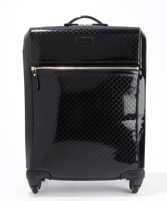gucci black ssima leather roll away spinner carryon