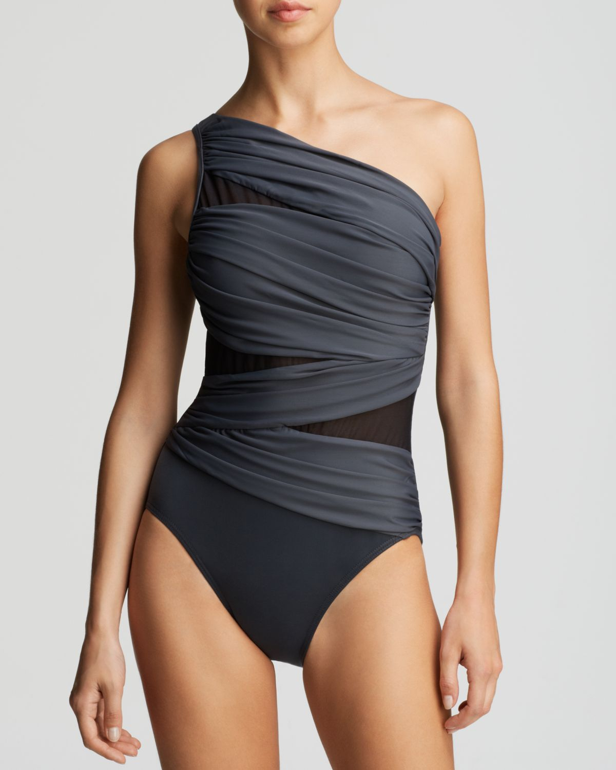 af8be56c9e Miraclesuit Net Work Jena One Piece Swimsuit in Gray - Lyst