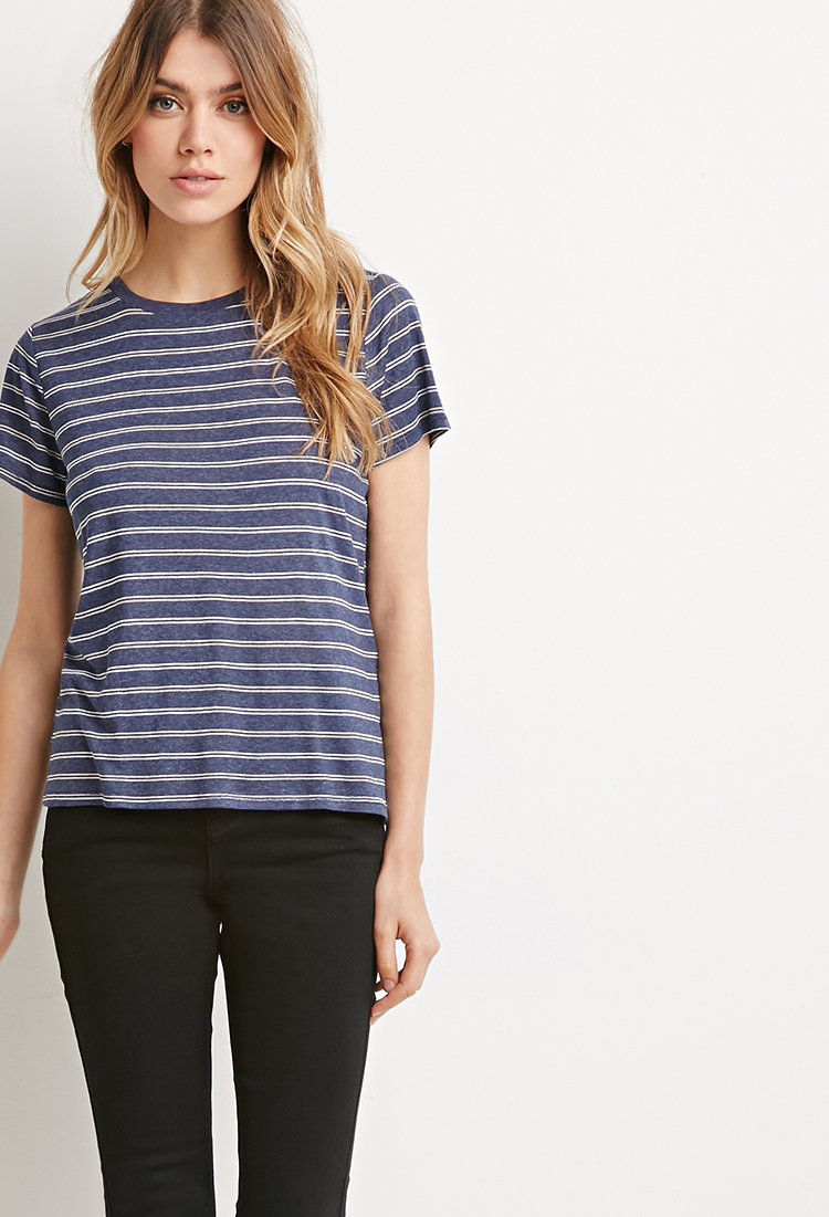 5d2eb0ef7a Lyst - Forever 21 Classic Striped Tee in Blue