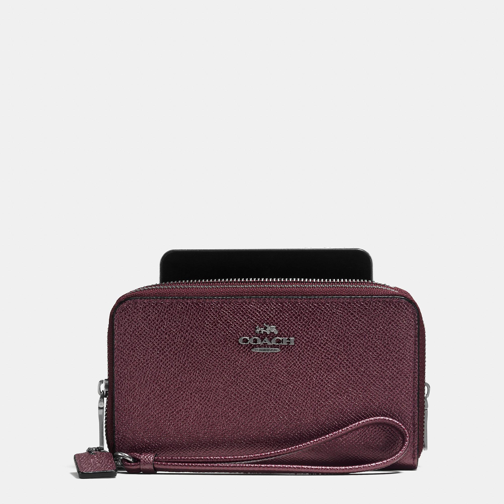 Women'S Italian Leather Double Zip Wallets 121