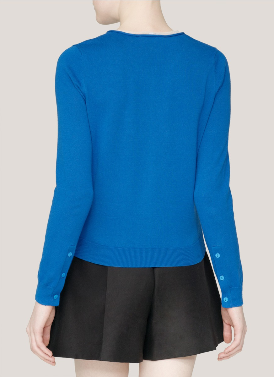 Carven Sheer-trim Cotton Cardigan in Blue | Lyst
