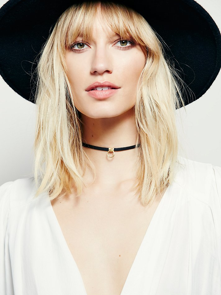Free People Luiny Sol Leather Choker in Black