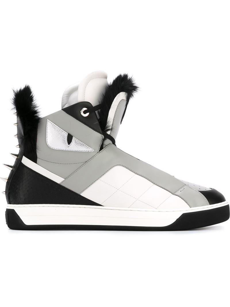 706b10f3a08c Lyst - Fendi Bag Bugs Hi-top Sneakers in Gray for Men