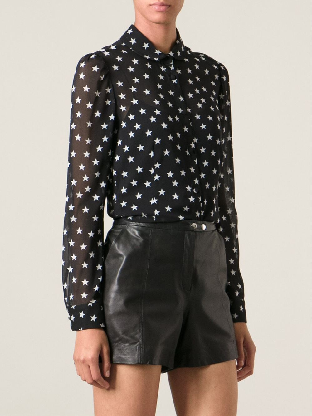 664b0345cbce Lyst - RED Valentino Star Print Blouse in Black