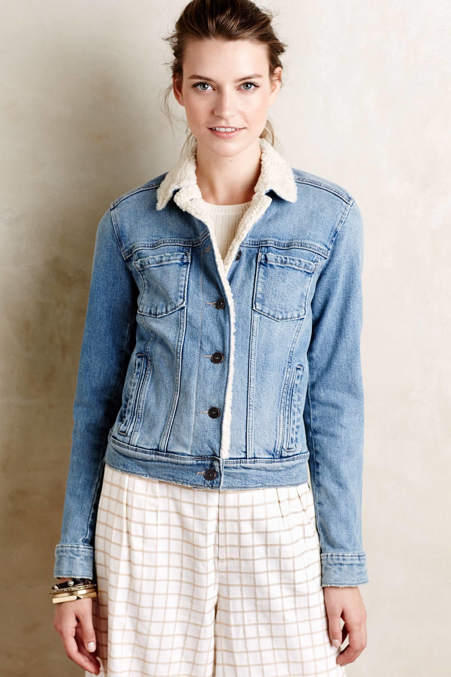 Paige Denim Sherpa Jacket In Blue Lyst