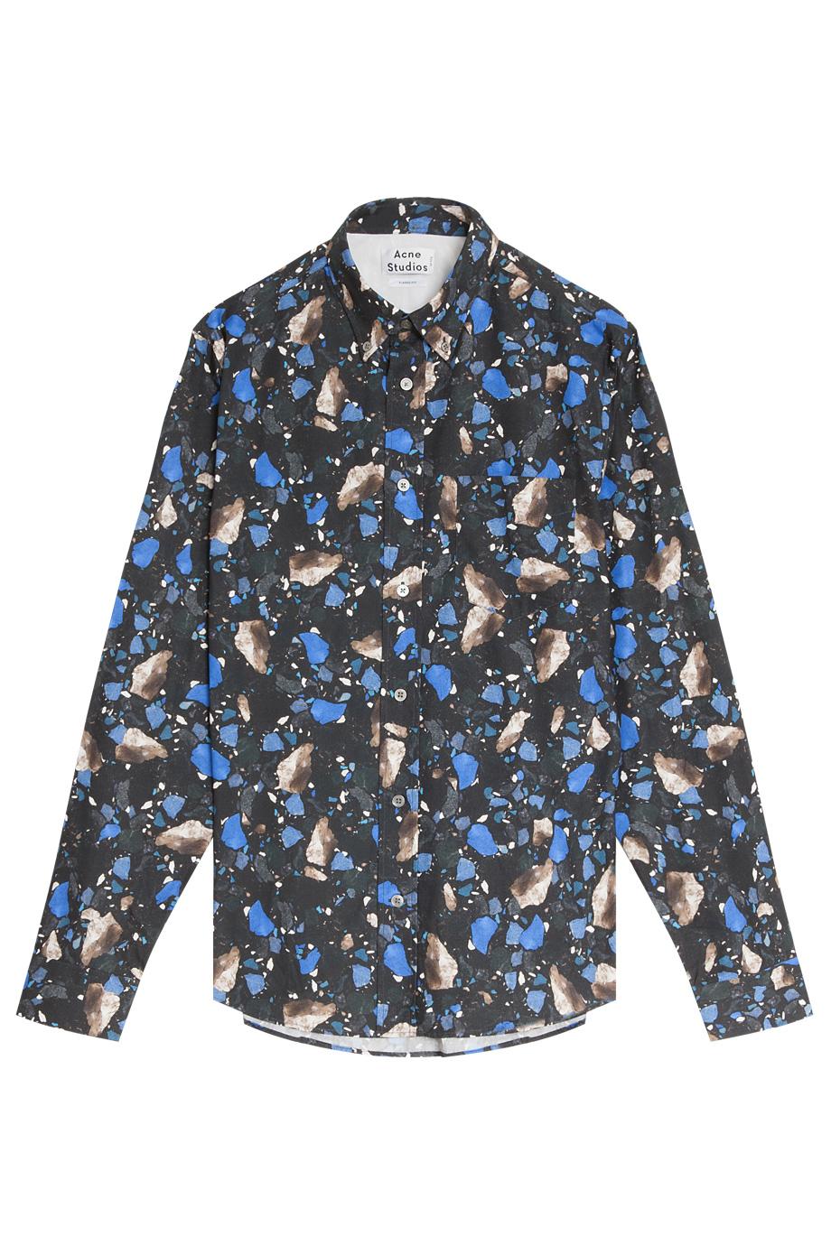 41ebaa11c1 Lyst - Acne Studios Isherwood Marble Print Shirt in Blue for Men
