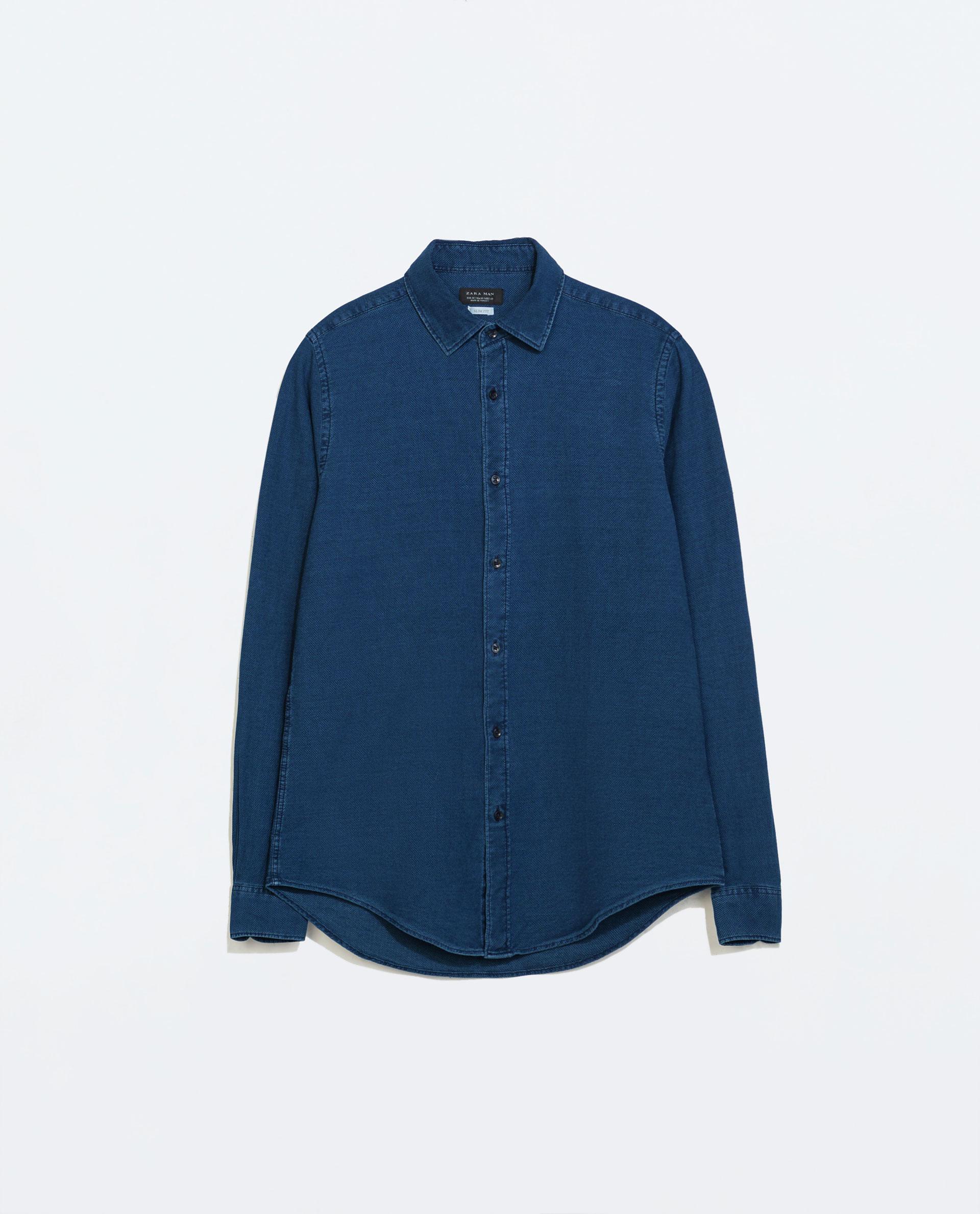 Zara structured shirt in blue for men lyst for Zara mens shirts sale