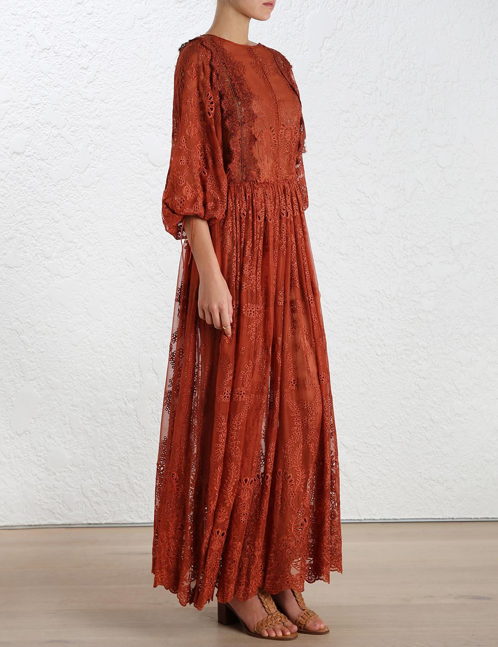 Lyst zimmermann alchemy embroidery long dress in orange