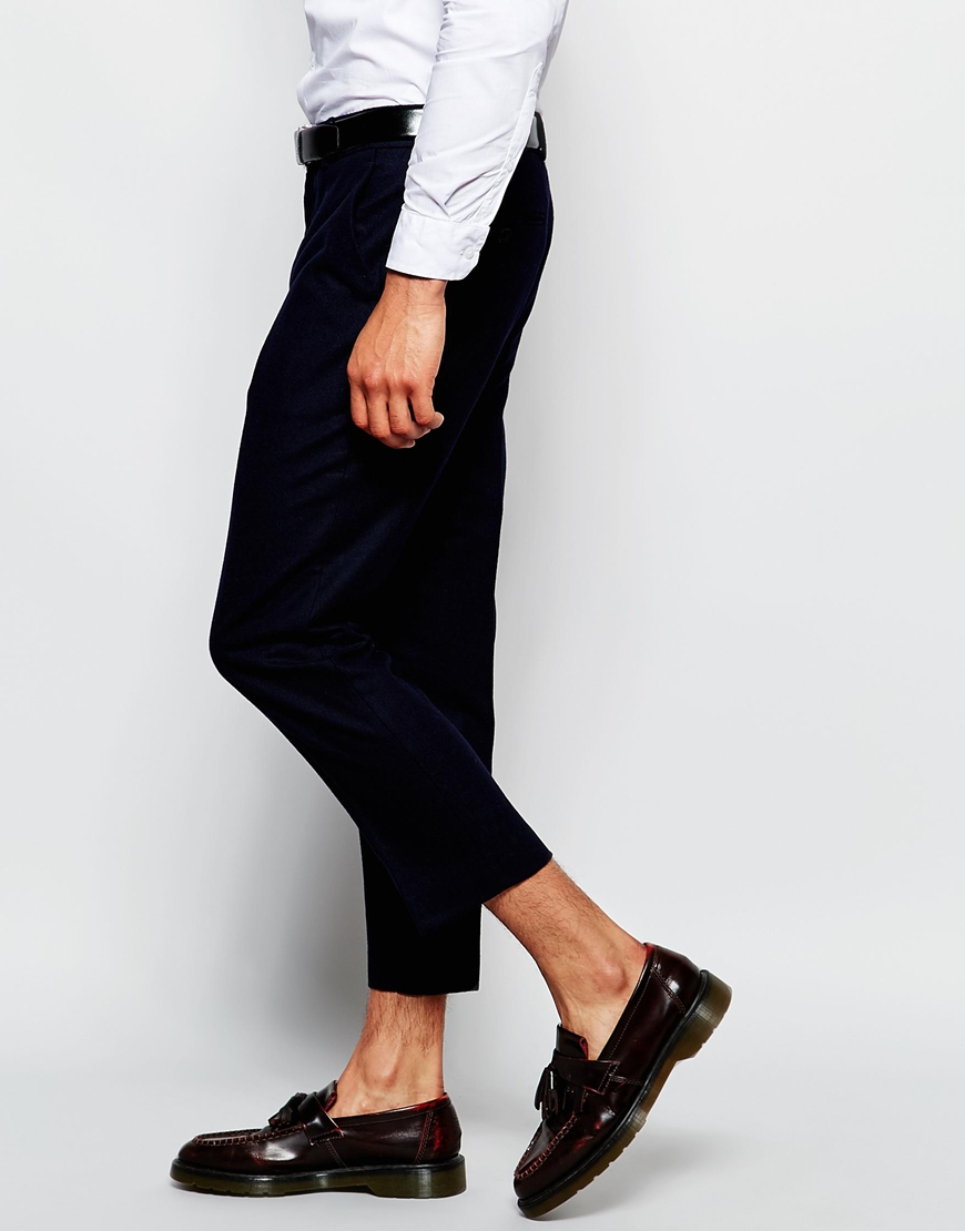 Farah Cropped Trousers In Wool Mix Slim Fit - Navy in Blue for Men