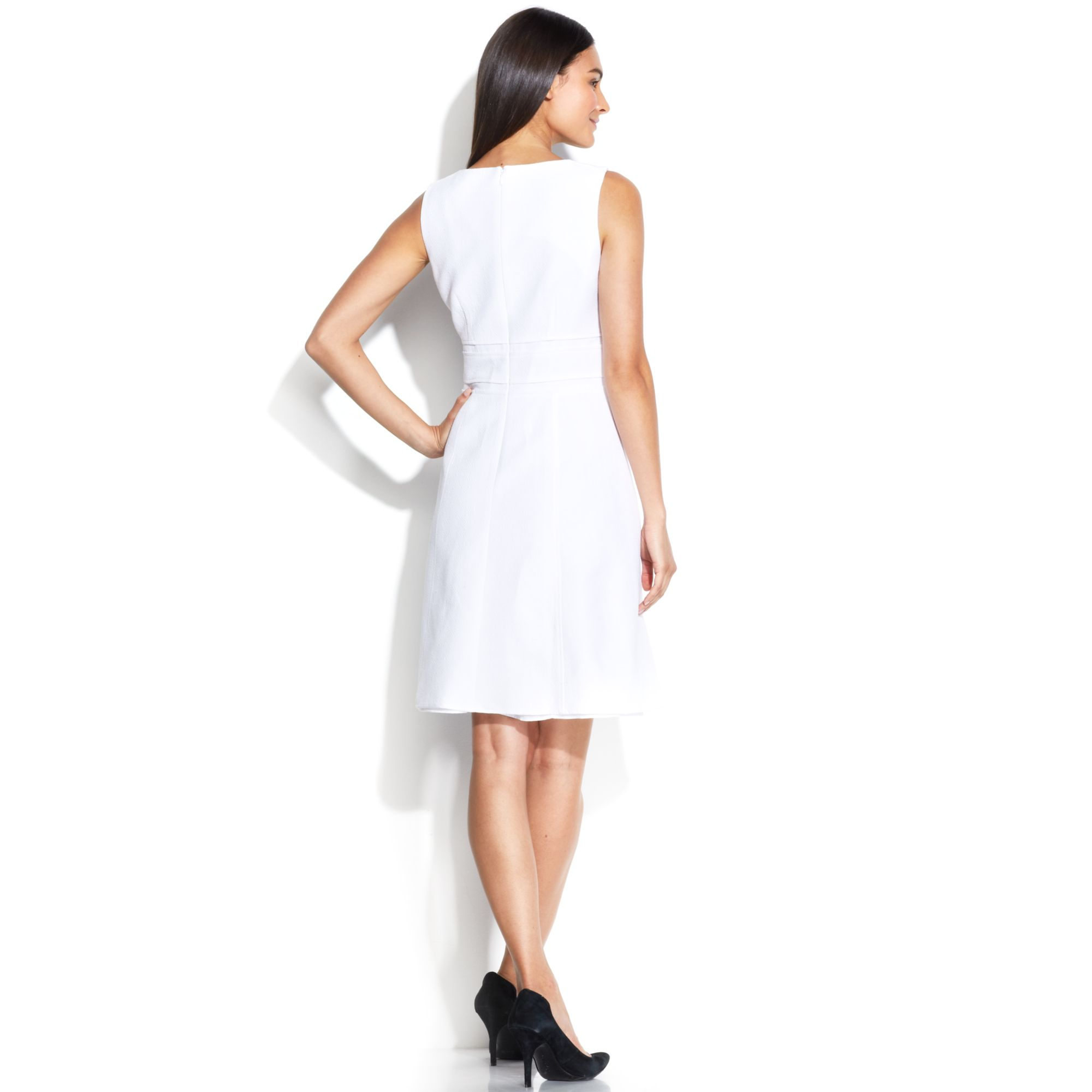 Calvin Klein Sleeveless Jacquard Aline Dress In Ivory