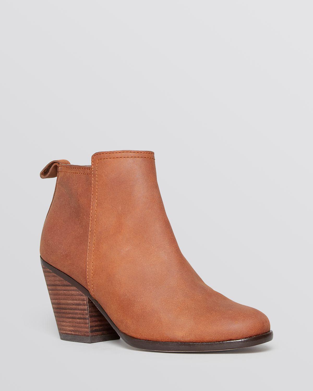 cole haan booties chesney chunky heel in brown cognac