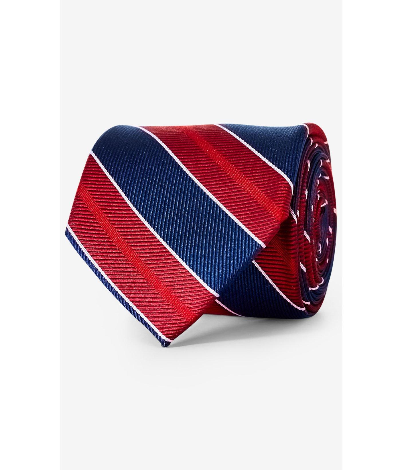 express wide diagonal stripe narrow silk tie in multicolor