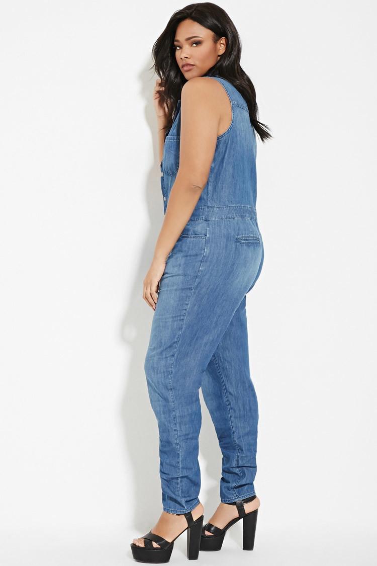 288788642cb4 Lyst - Forever 21 Plus Size Denim Jumpsuit in Blue