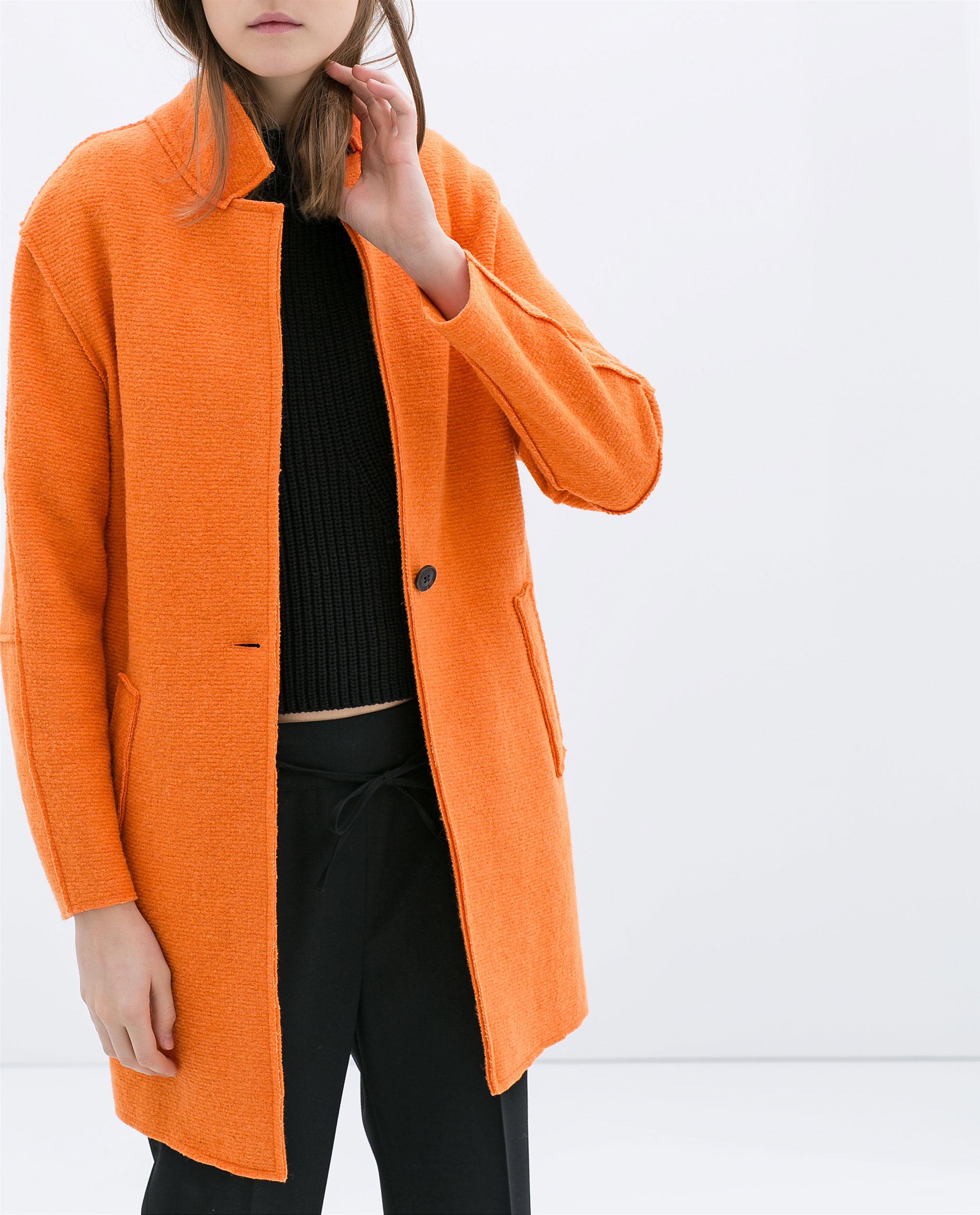 Zara Wool Coat in Orange | Lyst