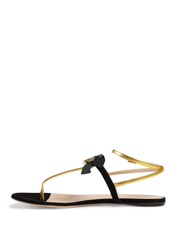 6a14b2611 Gucci Moody Bow-Detail Flat Sandals in Black - Lyst