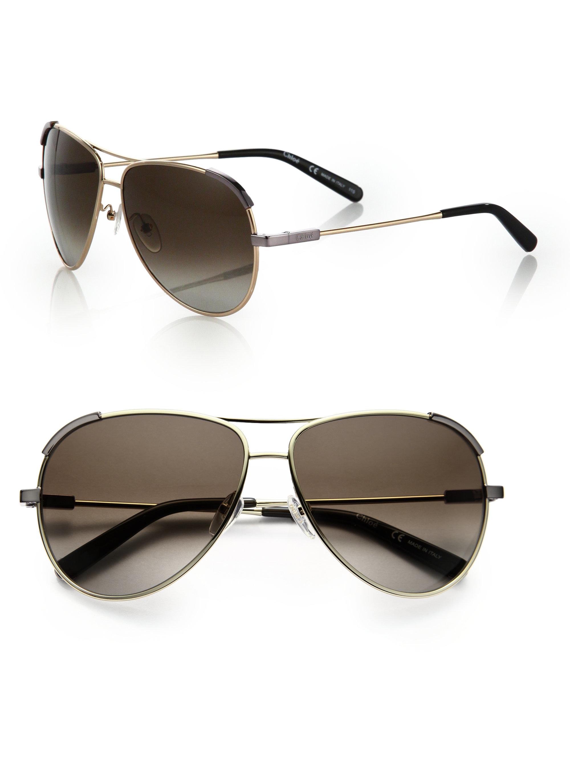 Chloe Gold Frame Sunglasses : Chloe Eric 60mm Aviator Sunglasses in Gold (gold khaki) Lyst