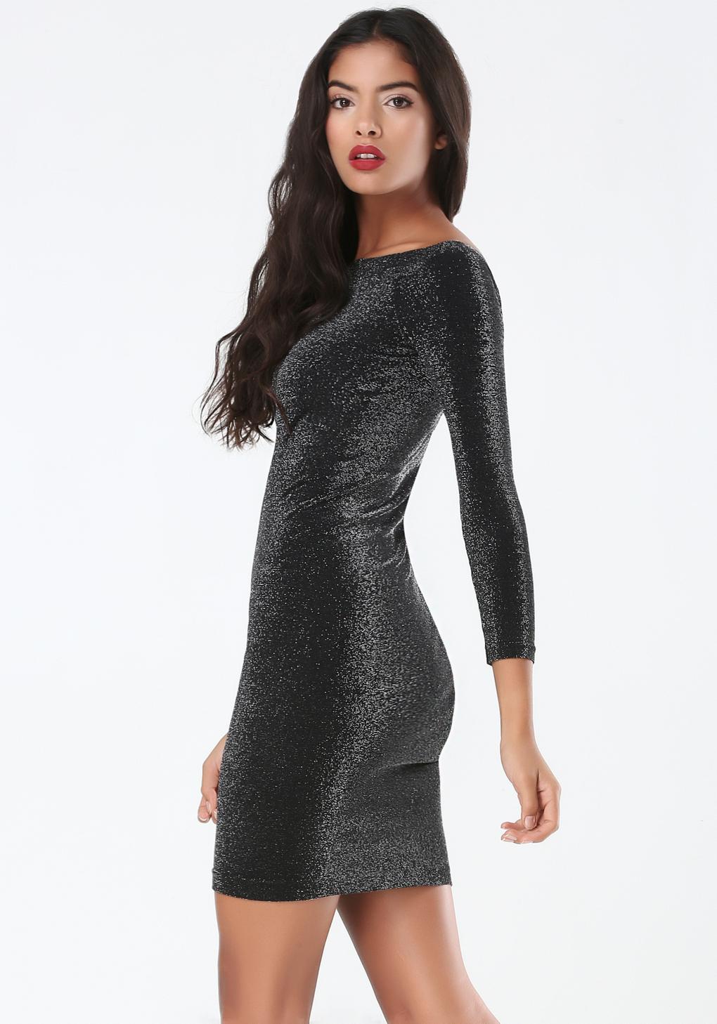Bebe Shimmer Dress In Black Lyst