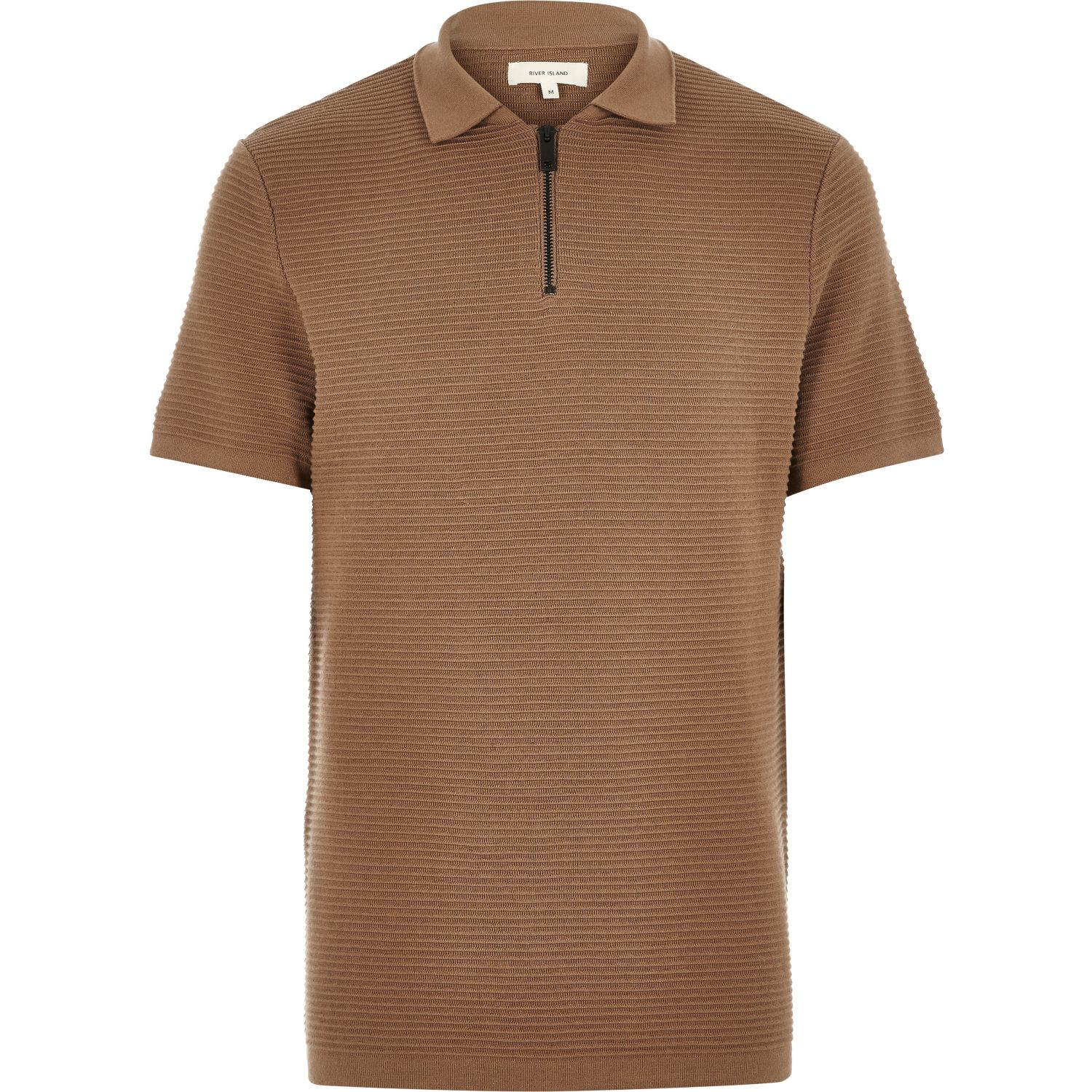 Lyst river island light brown textured zip neck polo for Light brown polo shirt