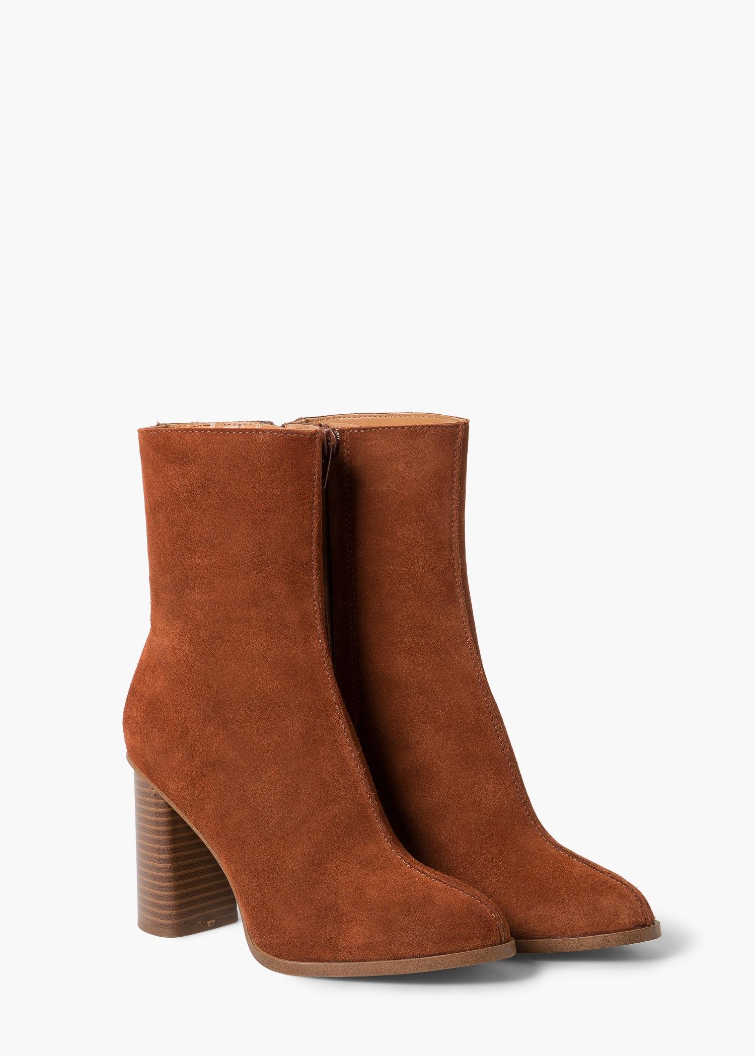 7926332289c Mango Orange Heel Suede Ankle Boot