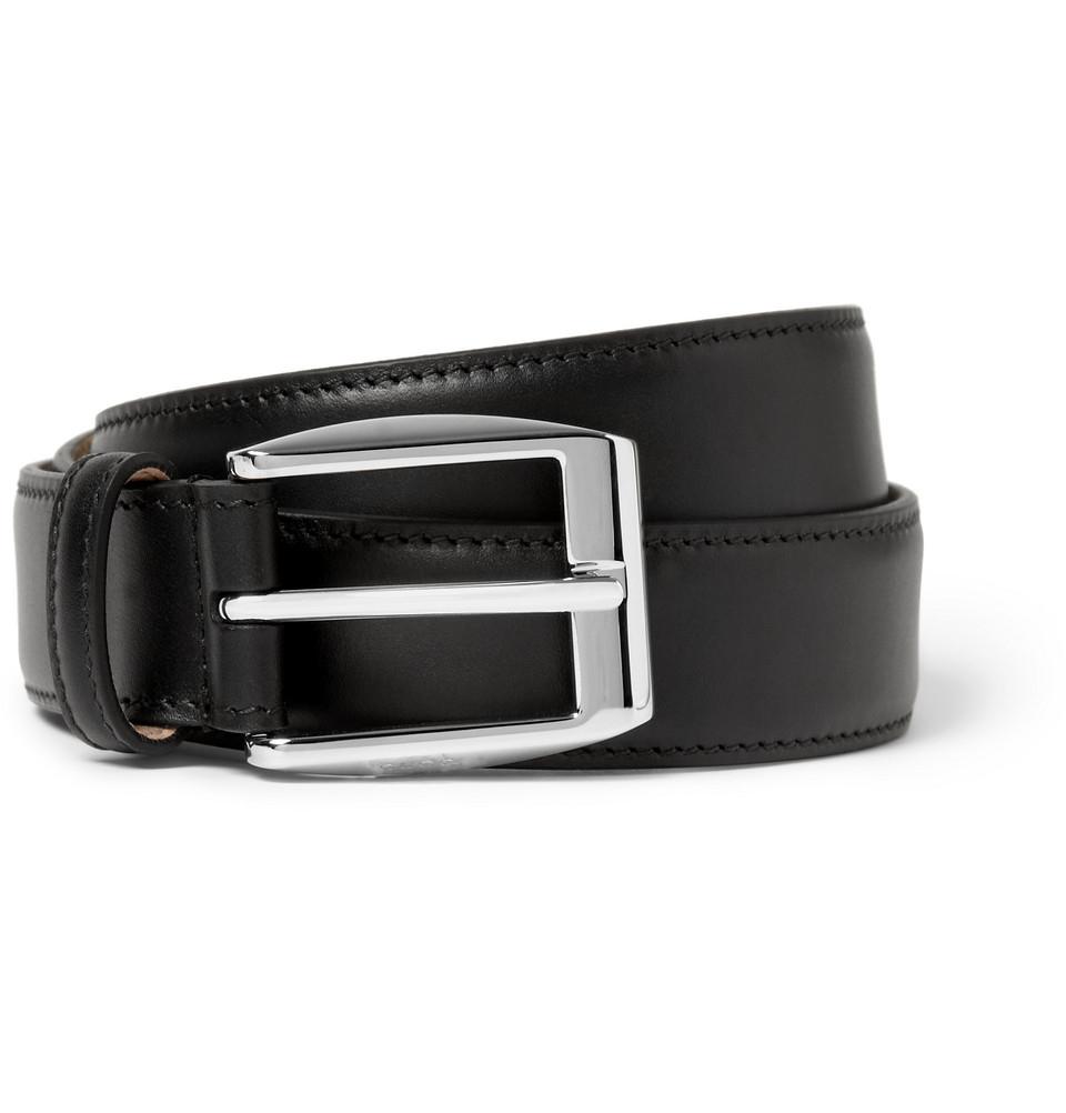 Gucci Black 3Cm Leather Belt in Black for Men | Lyst