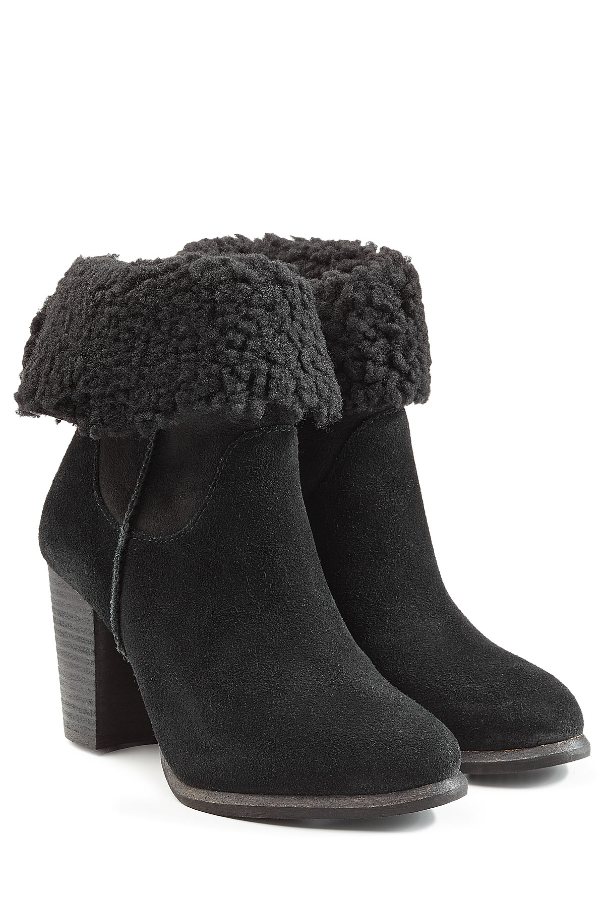 1dcc238eef9 UGG Gray Charlee Suede Ankle Boots With Sheepskin - Black
