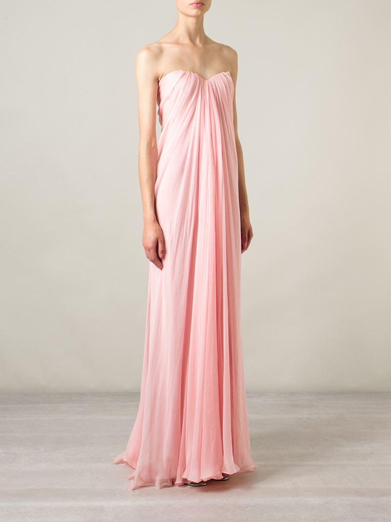 Lyst Alexander Mcqueen Draped Bustier Evening Dress In Pink