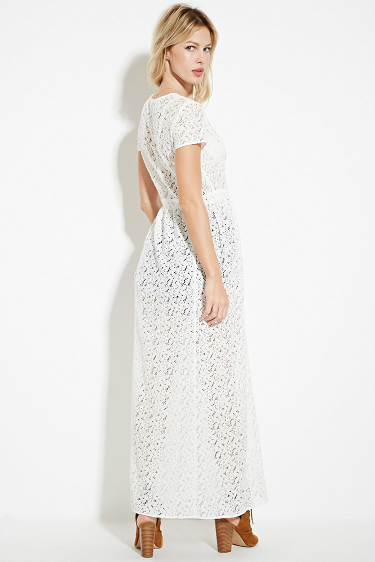 Forever 21 Floral Lace Duster In White Lyst