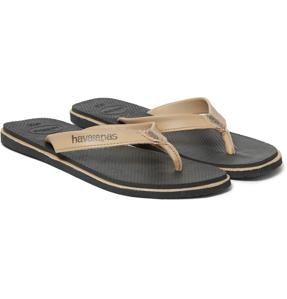 Havaianas Urban Premium Leather And Rubber Flip Flops In