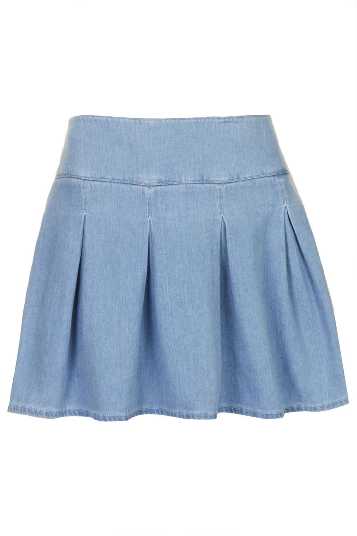 topshop moto denim kilt skirt in blue lyst