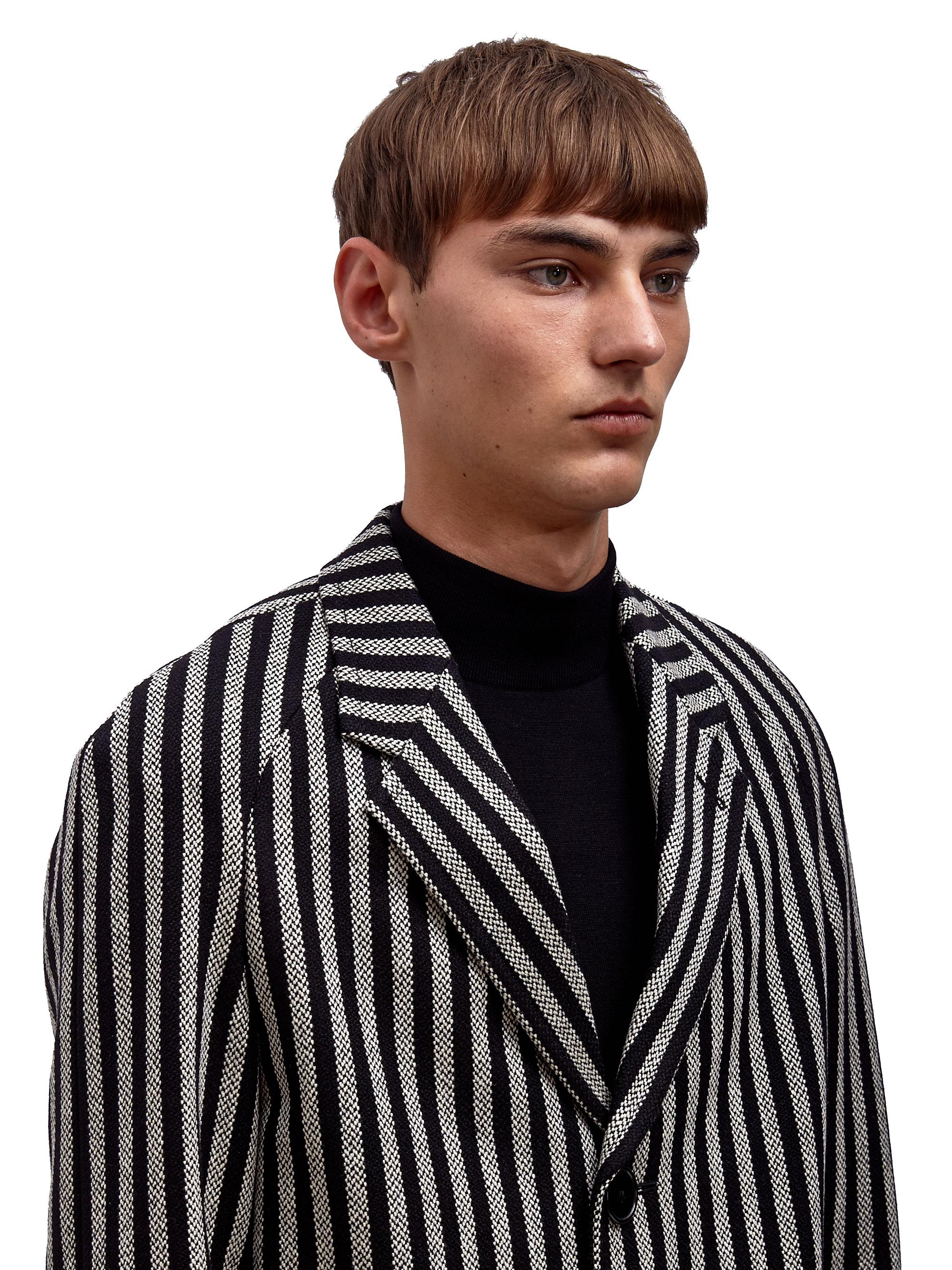 Saint laurent Mens Classic Wide Stripe Coat in Gray for Men | Lyst