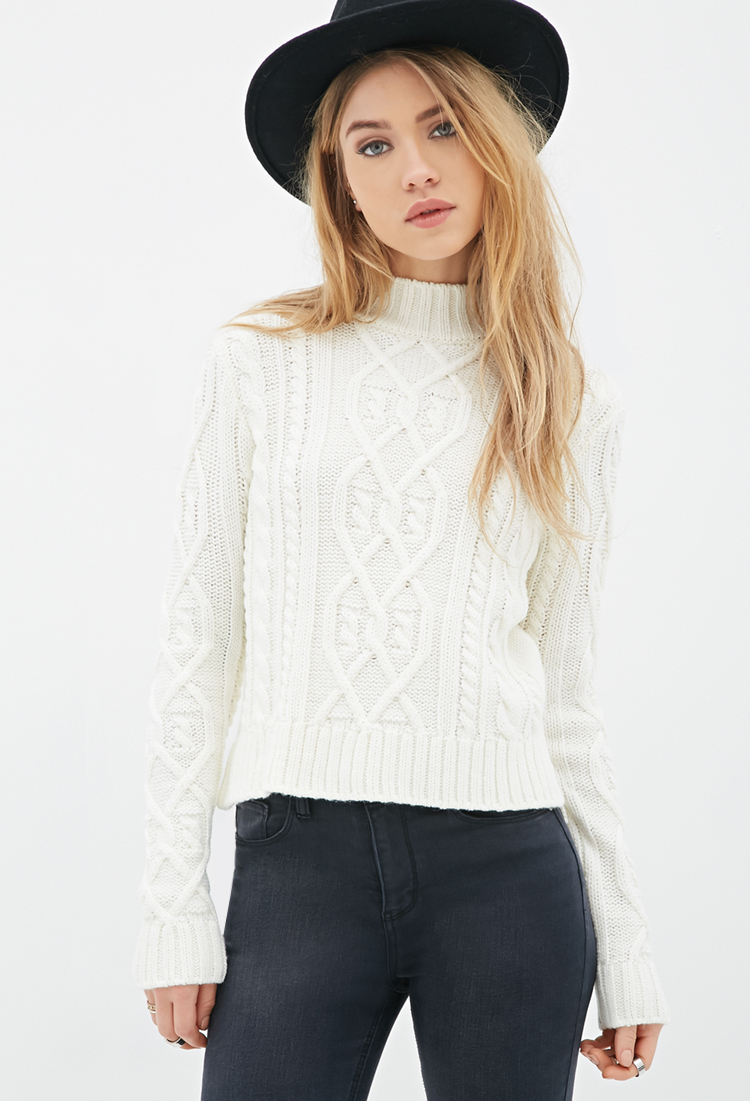 Forever 21 Cable Knit Mock Neck Sweater In Natural Lyst