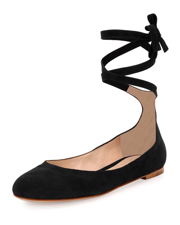 svart ankle tie flats ebay f5c4f 4429e
