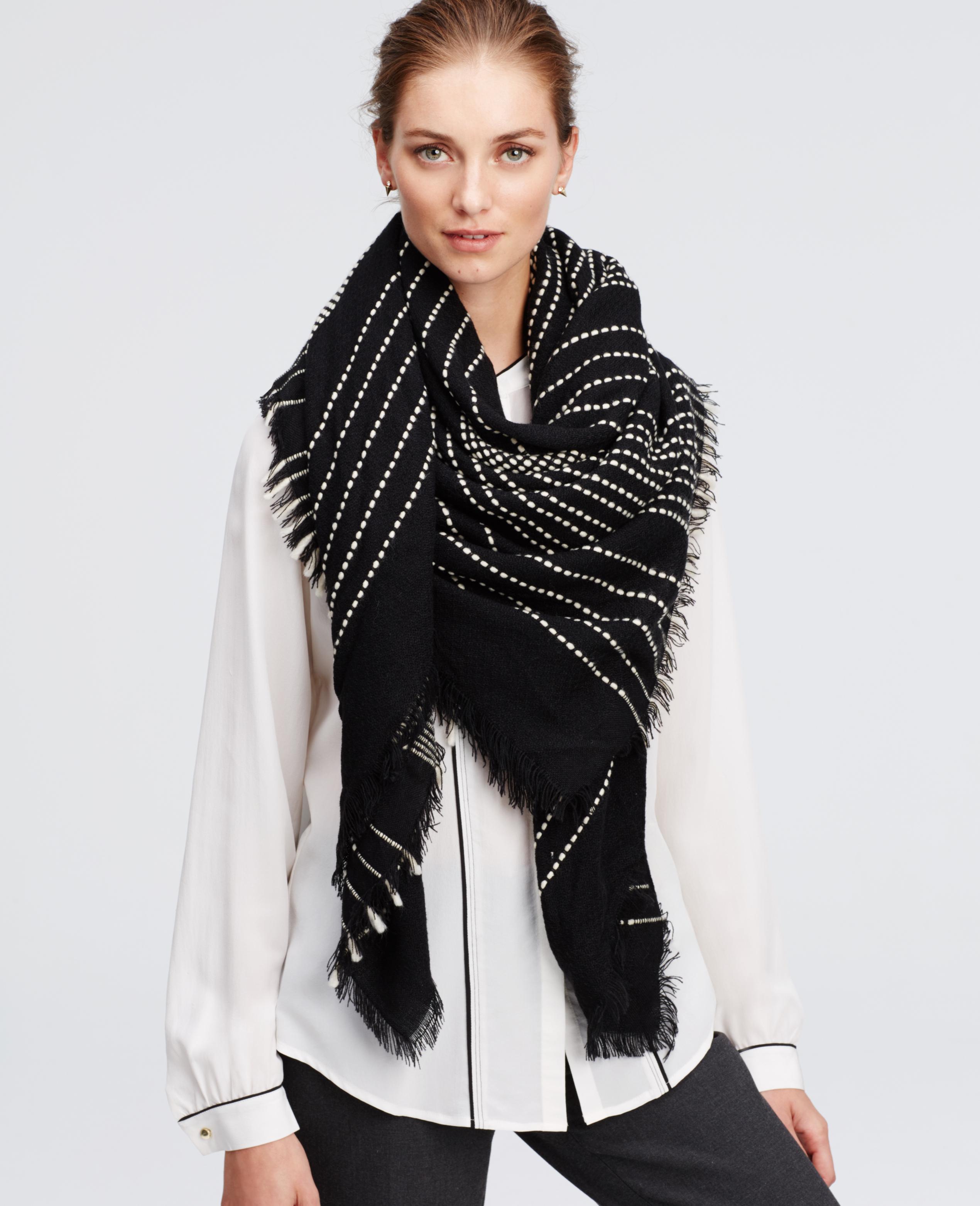 Lyst - Ann Taylor Stitched Stripe Blanket Scarf in Black 0a77a4665
