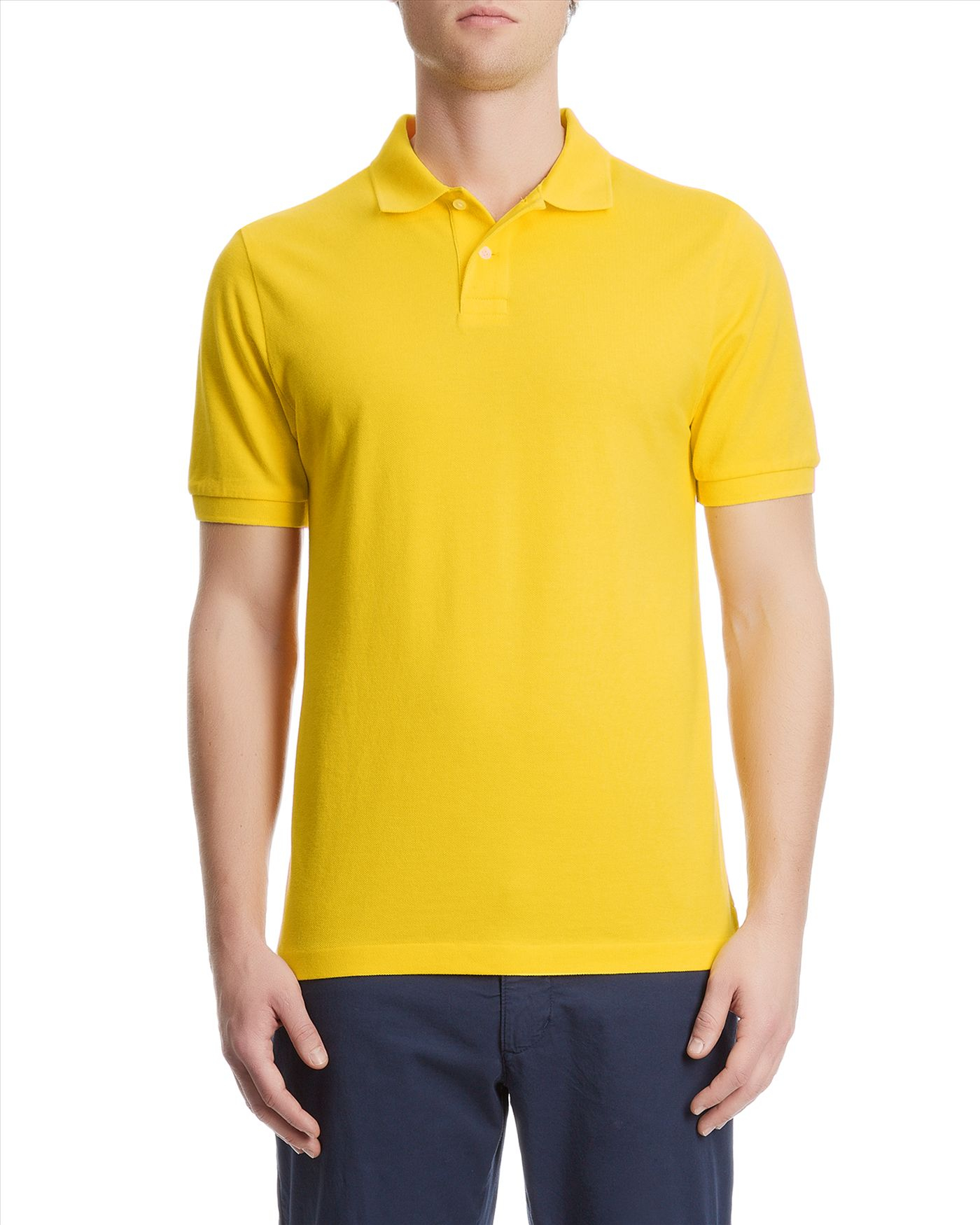 Lyst jaeger plain pique polo shirt in yellow for men Man in polo shirt