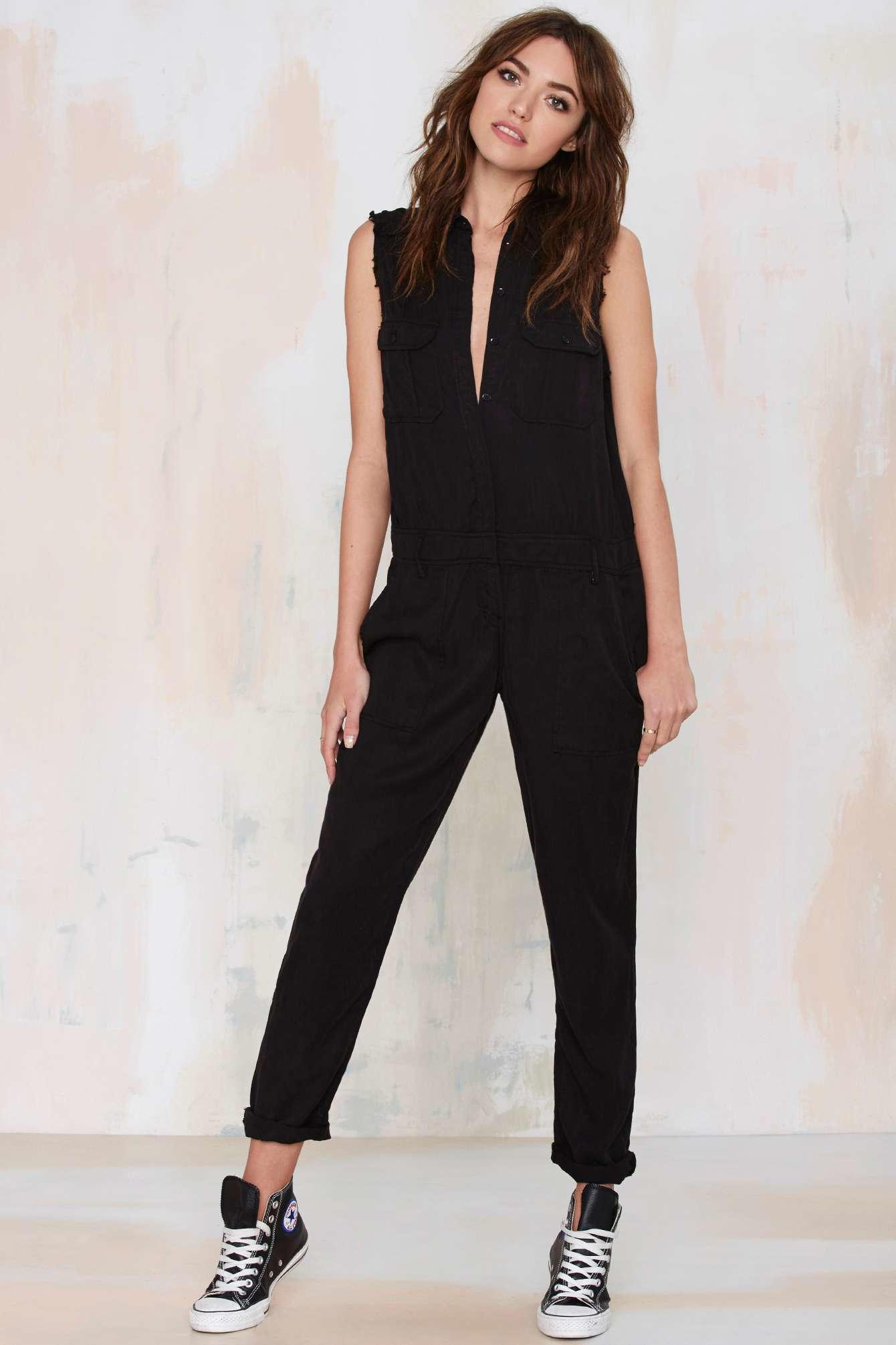 Etienne marcel Cut Loose Sleeveless Utility Jumpsuit in Black | Lyst