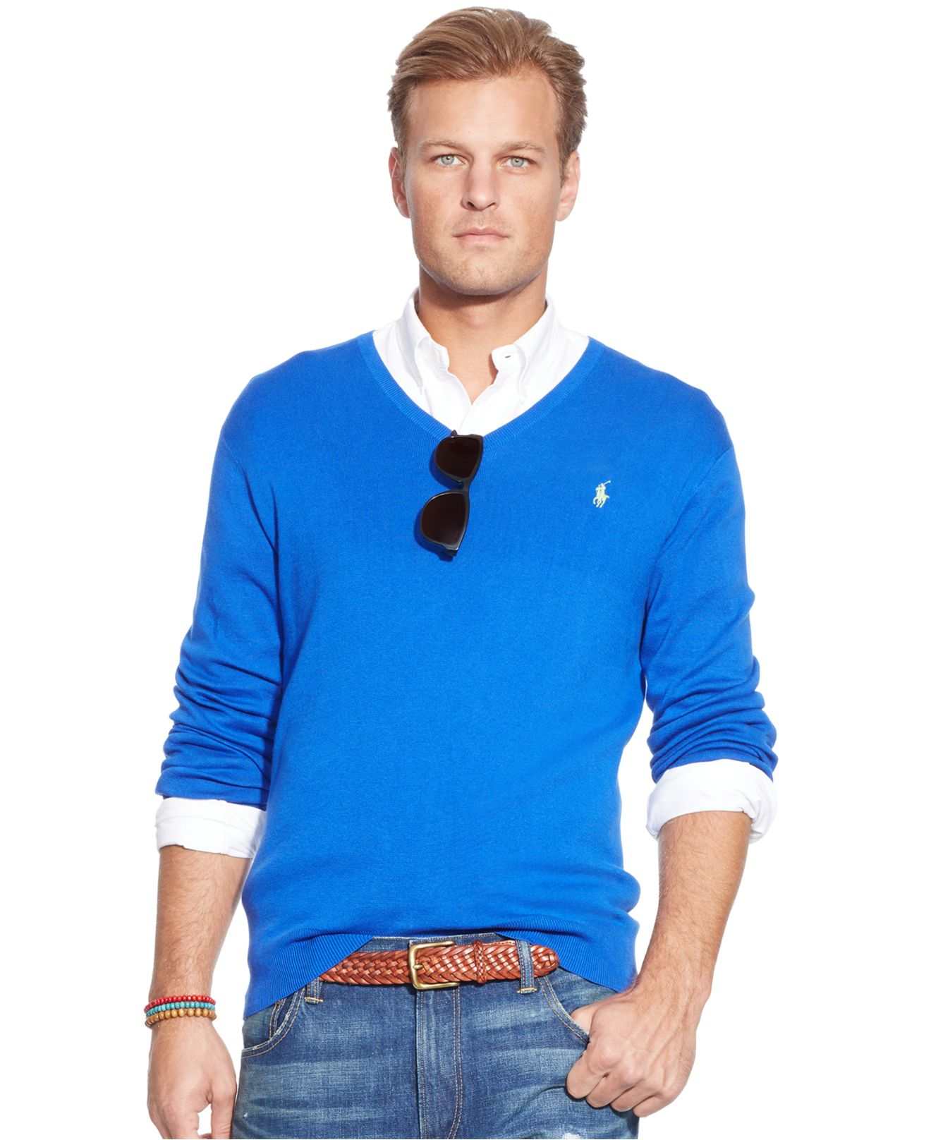 4954b1e9b05b lyst polo ralph lauren big and tall pima cotton v neck sweater in blue for  men