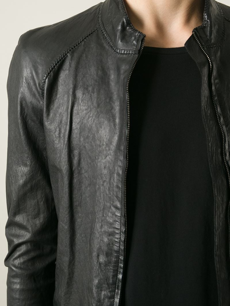 Distressed leather jacket for men