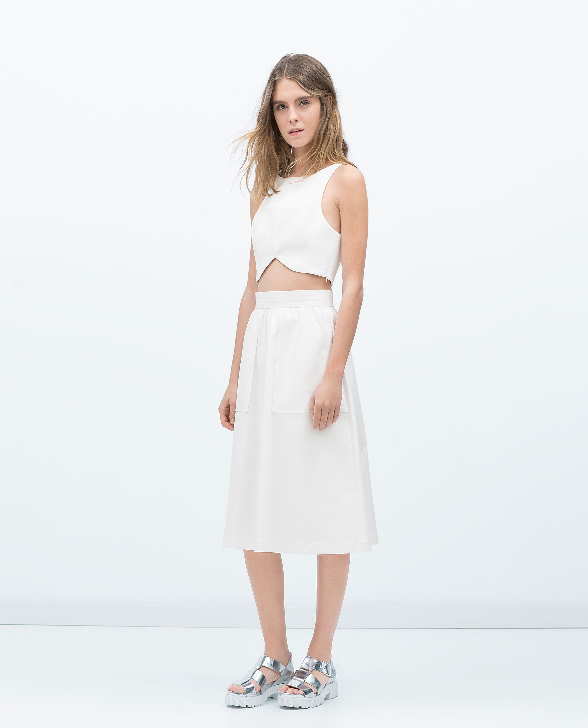 Zara Midi Flare Skirt in White | Lyst