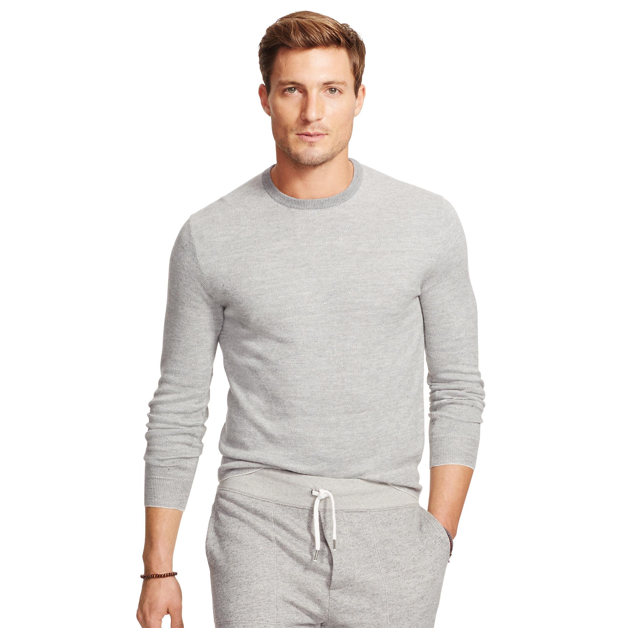 Polo Ralph Lauren. Men\u0026#39;s Gray Birdseye Crewneck Sweater