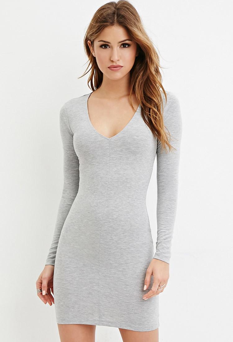 Forever 21 V-neck Bodycon Dress in Gray | Lyst