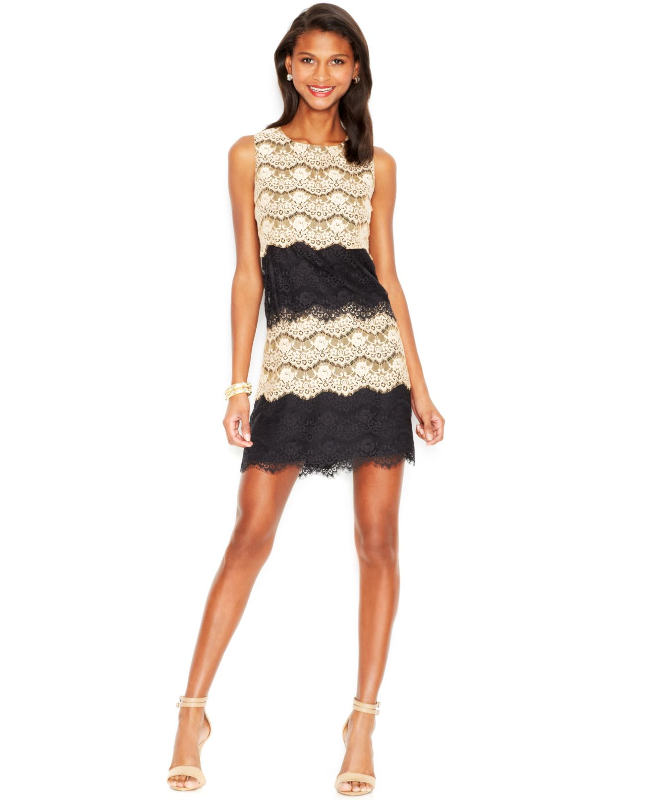 Lyst - Jessica Simpson Tiered Lace Cocktail Dress in Natural