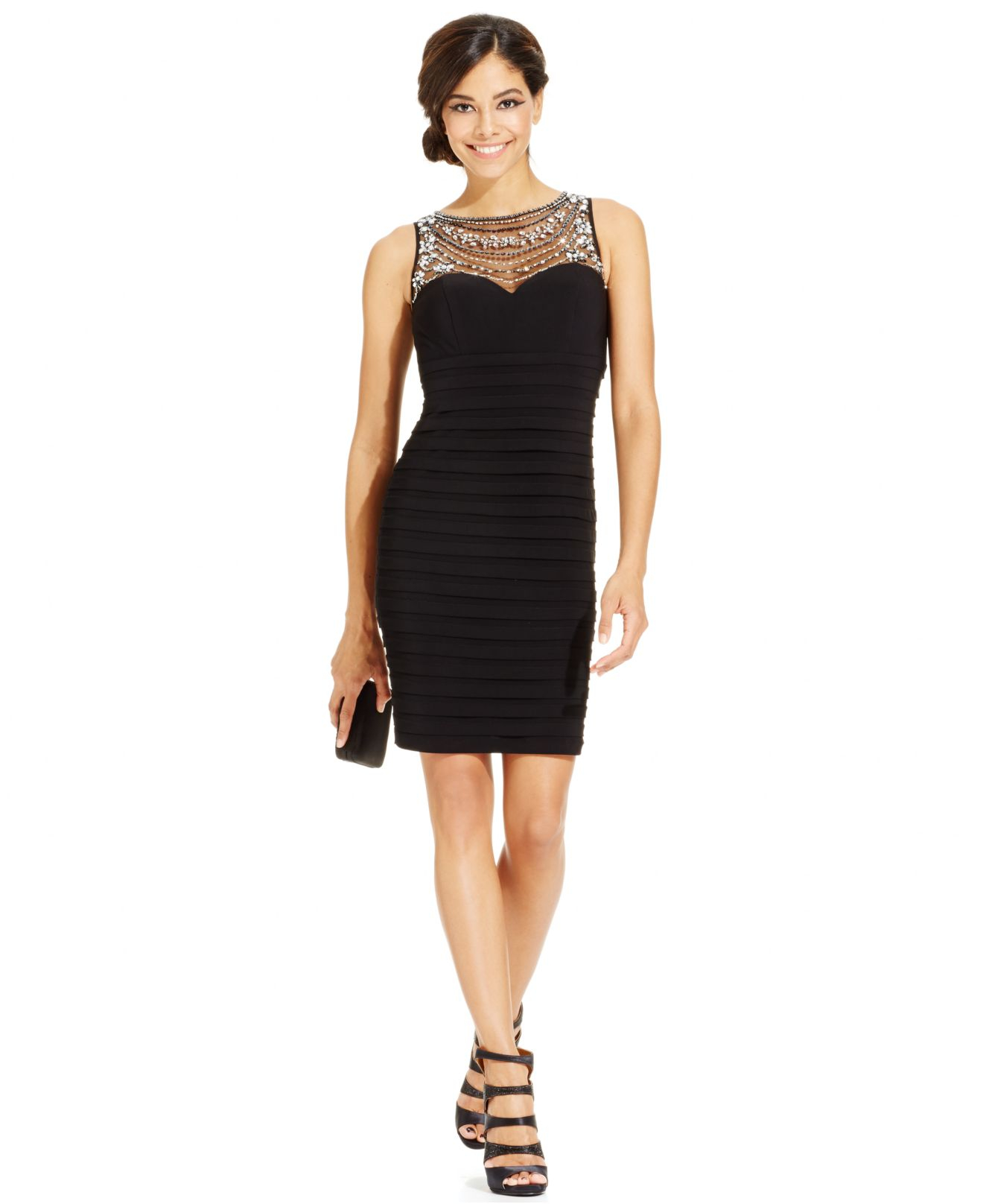 Black Illusion Dress: Patra Bodycon Dress With Beaded Illusion Neckline In Black