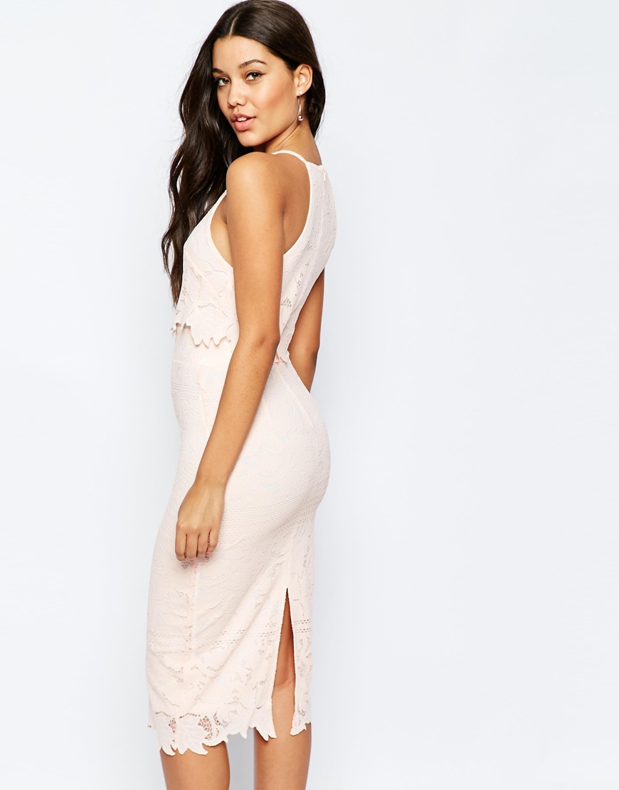 Asos Lace Floral Scallop Midi Dress In Pink Nude  Lyst-6012